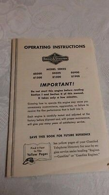"""(2) Vintage Operating Manuals """" WISCONSIN & BRIGGS  """"      Pac, 8 9"""