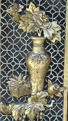 ANTIQUE 19c CHINESE LARGE ROSEWOOD CARVED PIERCED  PANEL PLAQUE VASE W/ FLOWERS 4