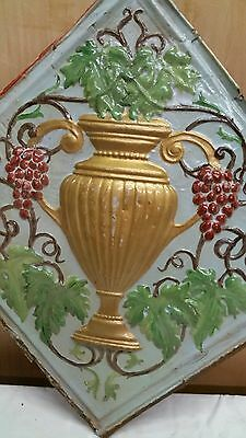 "24"" x 24"" Antique Ceiling Embossed Tin Tile with grapes and urn  RARE. (#4)"