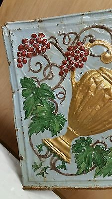"""24"""" x 24"""" Antique Ceiling Embossed Tin Tile with grapes and urn  RARE. (#3)"""