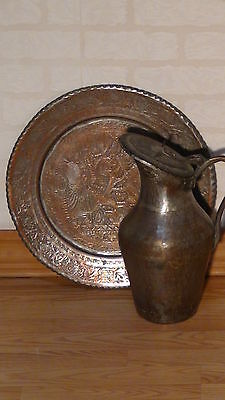 Antique 18C Islamic Persian Tinned Engraived Copper Tray And Ewer Hinting Scene 2