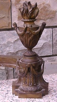 Antique 18C French  Louis Xiv Bronze Andiron Ormolu Urn Depicting A Flame Torch 2