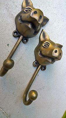 "4 heavy PIG HOOK WALL MOUNTED COAT old style BAG ANIMAL 6"" HANGER B 4"