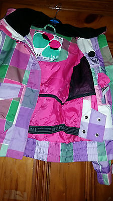 Girls Animal Technical Multi Coloured Checked Jacket With Earphone Pocket Sz Gsx 3