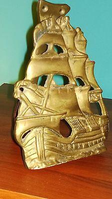 Old Vintage Brass Door Knocker Sail Ship. Sailing 12