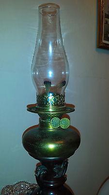 Antique Vantines Vantine & Co 1880 Parlor Oil Kerosene Table Lamp Glass Shade 9