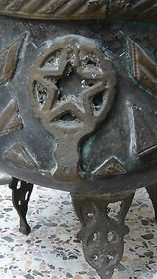 Antique 18C Islamic Middle Eastern Bronze Footed High Ornamental Floor Pot 4