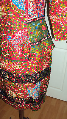 Ankara African Print Burgundy & Green Multi Skirt & Fitted Top UK 10-12 3