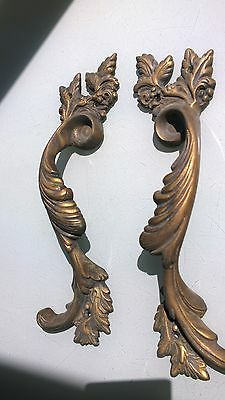"""2 Large handle DOOR PULLS solid BRASS old vintage antique style 11 """" heavy B 5"""