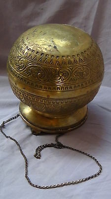ANTIQUE 19c ARABIC ISLAMIC BRASS INGRAVED RELIEF ORNAMENT VESSEL,POR WITH CHAIN 5