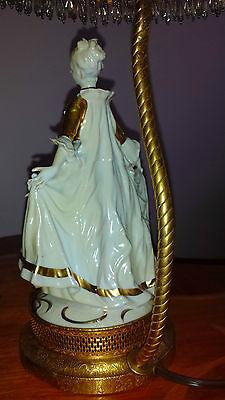 Antique Pair French Provincial Figurine Boudoir Lamps Light Fixtures Chandeliers 6