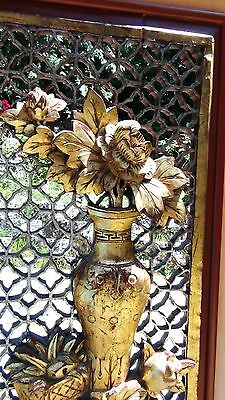 ANTIQUE 19c CHINESE LARGE ROSEWOOD CARVED PIERCED  PANEL PLAQUE VASE W/ FLOWERS 3