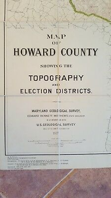 LARGE MARYLAND MAP - HOWARD COUNTY Topography & Election Districts - 1927 3