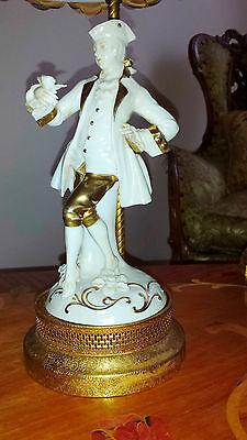 Antique Pair French Provincial Figurine Boudoir Lamps Light Fixtures Chandeliers 11