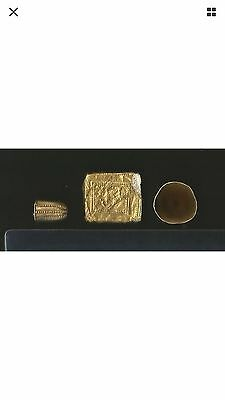 Ancient Neareast Asian Gold Finial & Plaque Group 2