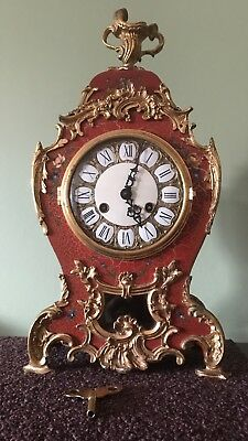 French Louis XV Mantel Gilt ClockWith Sun Face Pendulum Boulle Style Bracket