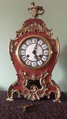 French Louis XV Style Boulle Lauris GiltMantel Clock Sun Face Pendulum Bracket