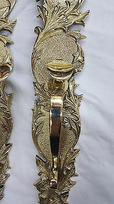 Large Front and Back Solid Brass Art Nouveau Door Handle & Plates - Set of Two