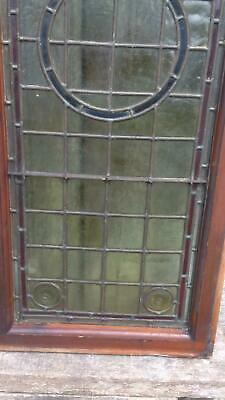 Architectural Antique Victorian Arts & Crafts Bullseye Leaded Glass Window Frame 11
