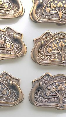 6 medium DECO cabinet handles solid brass furniture vintage age old style 95mm B 4