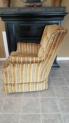 Vintage Gold Striped Velvet Fabric Tufted Arm Chair - VGC 6