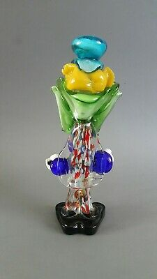 Vintage 1970's Murano Glass Clown Playing Guitar Green Bow Blue Hat 26cm High 3