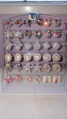 Job lot 18 Pairs Mixed Design Sparkly Diamante stud Earrings NEW Wholesale lot 1 3
