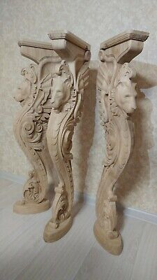 """38"""" Wooden stairs Baluster Newel, oak carved  gryphon statue, decorative element 11"""