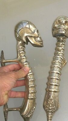 2 large SKULL head handle DOOR PULL spine SILVER BRASS old vintage style 33 cm B 6