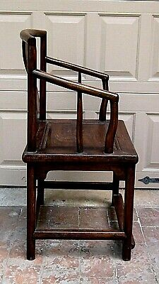 ANTIQUE 19c CHINESE ELM WOOD SQUARE ARMS & BACK  SINGLE SPLAT BACK ARMCHAIR 6