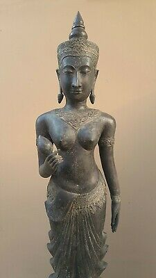 ANTIQUE BRONZE STATUE OF A FEMALE DEVATA, AYUTTHAYA. KHMER INFLUENCE. 19/20th C. 5