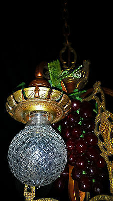 Vtg Gothic Revival Deco  Metal Chandelier Fixture Wine Country Grape Clusters 5
