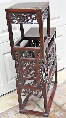 Antique Chinese Rosewood Handcarved Pierced Dragon Step Tansu Plant Stand #2 8