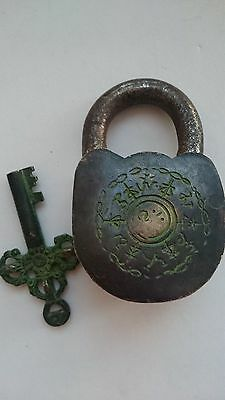 Vintage Solid Bronze Engraved Padlock W/Key № 35 5