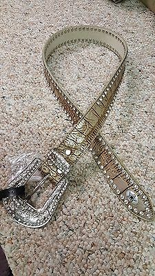 Dallas Cowboys  Beige Leather Belt Rhinestone Fancy Style Glitz Bling S M L NFL 3