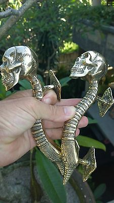 "2 small SKULL handle DOOR PULL spine BRASS old vintage style Polished 8 "" B 9"