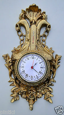 Wall Clock Nostalgia with Thermometer Gold 38x65 Vintage Art Nouveau Antique 5