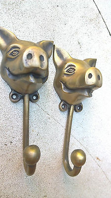 "4 heavy PIG HOOK WALL MOUNTED COAT old style BAG ANIMAL 6"" HANGER B 7"