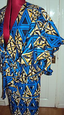 Ankara African Print Blue, Black & Beige Multi Skirt & Jacket Top UK 12-14 / M 2