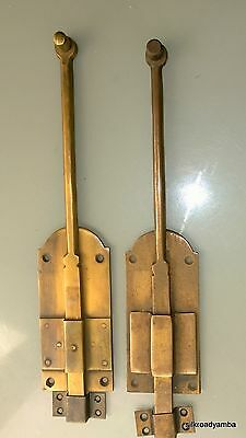 "2 flush BOLT french old age style doors furniture heavy brass slide 11"" bolts B 2"