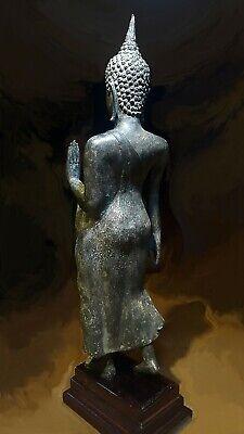 Antique Bronze Sukhothai Walking Buddha, Temple Relic. 19/20Th C. 6