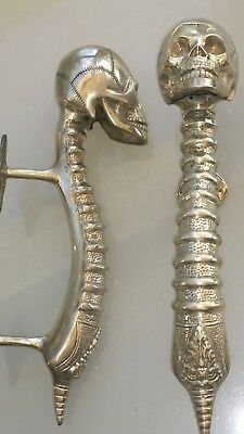 2 large SKULL head handle DOOR PULL spine SILVER BRASS old vintage style 33 cm B 5