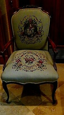 Set Of 2  Antique 1920 Upholstered Armchair And Settee Depicts Of Court Scene 3