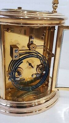 Large Oval Case Ormolu Repeat Strike 4 Glass Carriage Clock 11