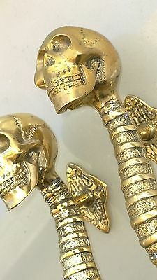 """2 small SKULL head handle DOOR PULL spine natural AGED BRASS old style 8"""" B 5"""