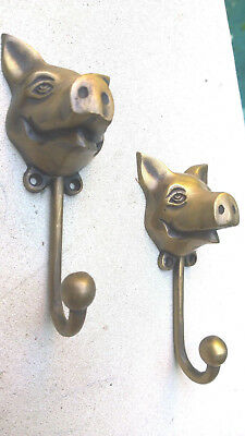 "2 heavy PIG HOOK WALL MOUNTED COAT old style BAG ANIMAL 6"" HANGER B 3"