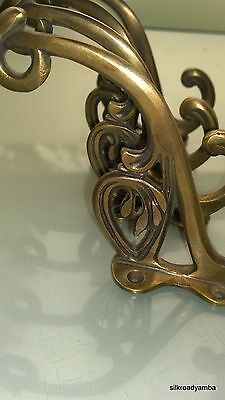 "4 hall stand COAT HOOKS door solid brass antiques vintage old style 5"" hook B 4"