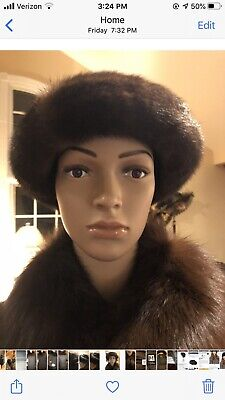 Mitchies Matchings Women's Leather Hat With Real Fur Trim EUC 11