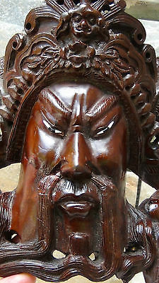 Antique 19C Chinese Rosewood Hand Carved Mask Of Imperor With The Dragons  #3 2