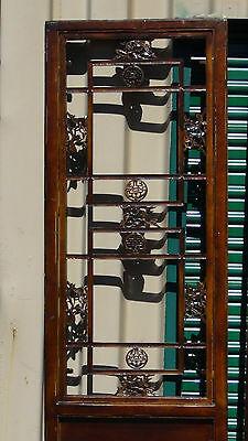Two Antique 19C Chinese Transom Panel/door Elm Wood W/ Open Lattice Upper Panel 4
